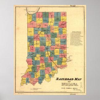 ヴィンテージのインディアナの鉄道地図(1852年) ポスター