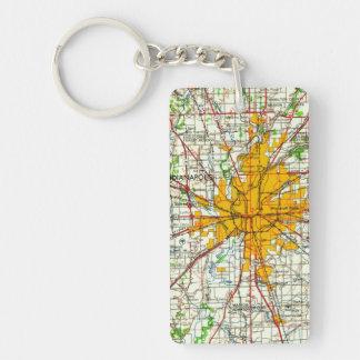 ヴィンテージのインディアナポリスの地図 キーホルダー