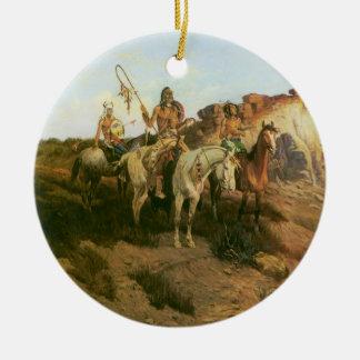 ヴィンテージのインディアン、草原のProwlers、天然発泡ミネラルウォーター、 セラミックオーナメント
