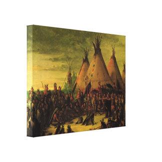 ヴィンテージのインディアン、Catlin著スー戦争議会 キャンバスプリント