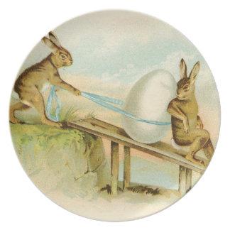 ヴィンテージのイースターのウサギ プレート