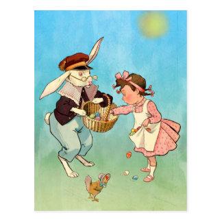 ヴィンテージのイースターのウサギ、小さな女の子および雌鶏 ポストカード