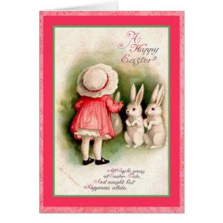 ヴィンテージのイースター女の子および白いバニー グリーティングカード