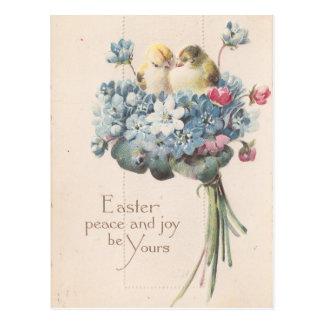 ヴィンテージのイースター愛らしい鳥および花 ポストカード