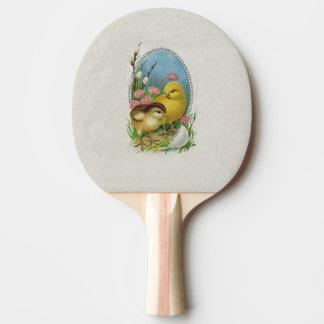 ヴィンテージのイースター春のベビーのひよこの花 卓球ラケット