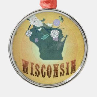ヴィンテージのウィスコンシンの州の地図のパッションフルーツの黄色 メタルオーナメント