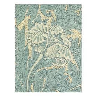 ヴィンテージのウィリアム・モリスのチューリップの花柄 ポストカード