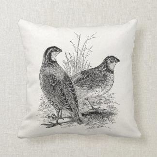 ヴィンテージのウズラの鳥-名前入りなレトロの狩猟鳥 クッション