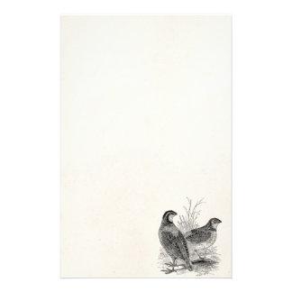 ヴィンテージのウズラの鳥-名前入りなレトロの狩猟鳥 便箋