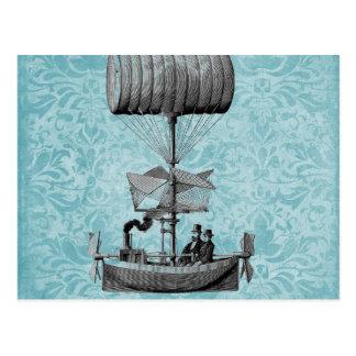 ヴィンテージのエアボート|Blueのダマスク織 ポストカード