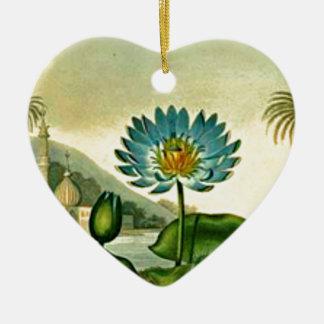 ヴィンテージのエジプトの青のはすの花の緑の葉 セラミックオーナメント