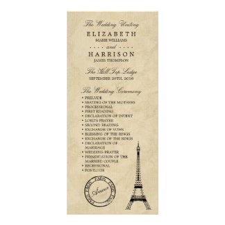 ヴィンテージのエッフェル塔のパリの結婚式プログラム ラックカード