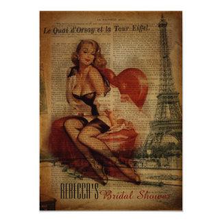 ヴィンテージのエッフェル塔の女の子のパリのブライダルシャワー カード