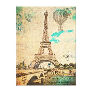 ヴィンテージのエッフェル塔パリ、フランスのキャンバスのプリント キャンバスプリント