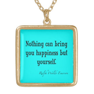 ヴィンテージのエマーソンの幸福の引用文のネオン青いティール(緑がかった色) ゴールドプレートネックレス