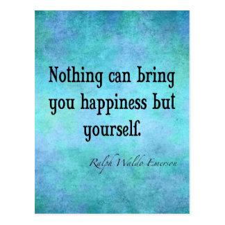 ヴィンテージのエマーソンの幸福の感動的な引用文の青 ポストカード