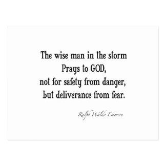 ヴィンテージのエマーソンの感動的な勇気の引用文 ポストカード