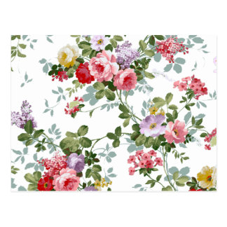 ヴィンテージのエレガントでガーリーなピンクの赤いバラパターン ポストカード