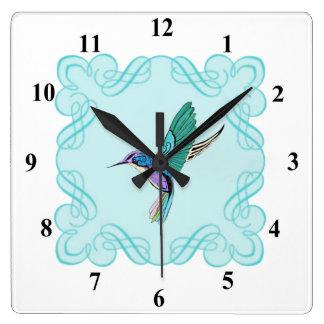 ヴィンテージのエレガントなハチドリ スクエア壁時計