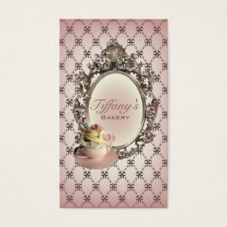 ヴィンテージのエレガントなピンクのカップケーキのファッションのパン屋 名刺