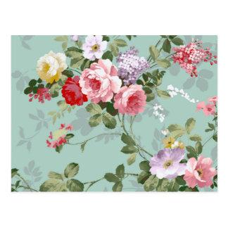 ヴィンテージのエレガントなピンクの赤いバラパターン ポストカード