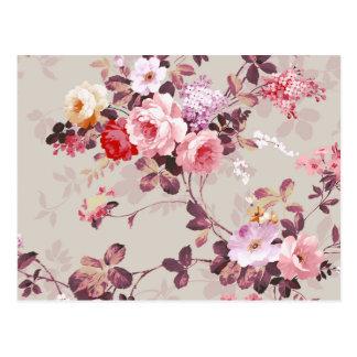 ヴィンテージのエレガントなピンクの赤い紫色のバラパターン ポストカード