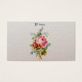 ヴィンテージのエレガントなピンクの青いバラのフルーア 名刺