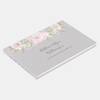 ヴィンテージのエレガントな花のピンクの灰色色の紙 ゲストブック