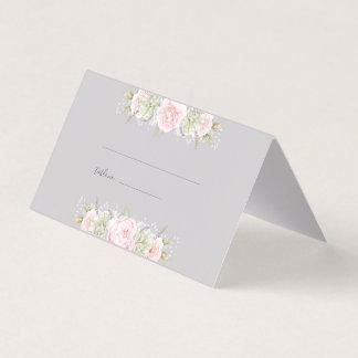 ヴィンテージのエレガントな花のピンクの灰色色の紙 プレイスカード
