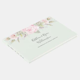 ヴィンテージのエレガントな花のピンクは色の紙を緑化します ゲストブック