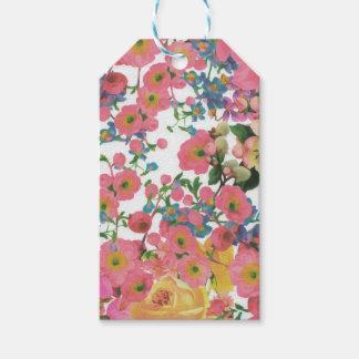 ヴィンテージのエレガントな花の花のテーマパターン ギフトタグ