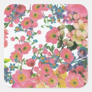 ヴィンテージのエレガントな花の花のテーマパターン スクエアシール
