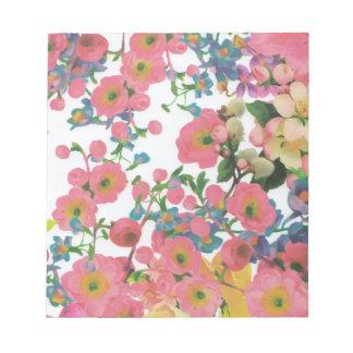 ヴィンテージのエレガントな花の花のテーマパターン ノートパッド