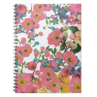 ヴィンテージのエレガントな花の花のテーマパターン ノートブック