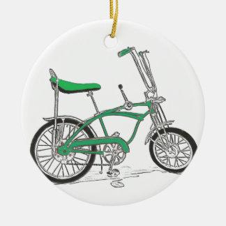 ヴィンテージのエンドウ豆のピッカー緑のアカエイのバイクの自転車 セラミックオーナメント