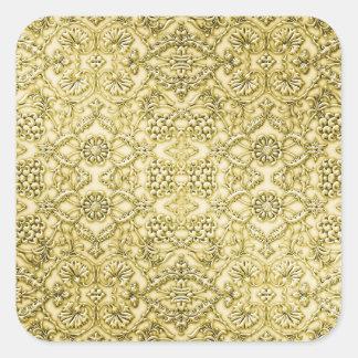ヴィンテージのエンボスの金属金ゴールドホイルの花柄 スクエアシール