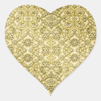 ヴィンテージのエンボスの金属金ゴールドホイルの花柄 ハートシール