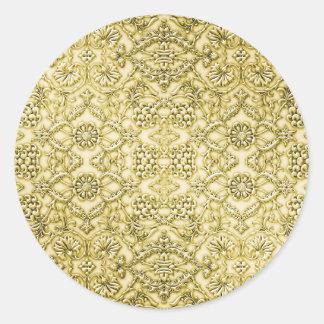 ヴィンテージのエンボスの金属金ゴールドホイルの花柄 ラウンドシール