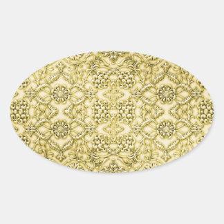 ヴィンテージのエンボスの金属金ゴールドホイルの花柄 楕円形シール