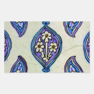 ヴィンテージのオットマンのタイルの花柄の抽象デザイン 長方形シール
