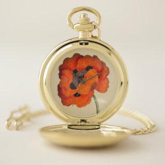 ヴィンテージのオニゲシの花の壊中時計 ポケットウォッチ