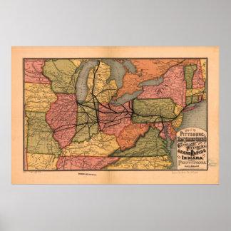 ヴィンテージのオハイオ川の谷の鉄道地図(1874年) ポスター