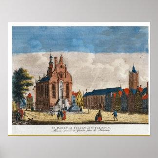 ヴィンテージのオランダのイメージ、Schiedamの市場 ポスター