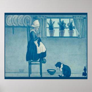 ヴィンテージのオランダのデザイン、1905年女の子の編み物、猫の ポスター