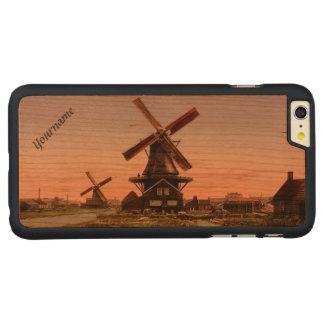 ヴィンテージのオランダの風車の習慣のケース CarvedチェリーiPhone 6 PLUSスリムケース