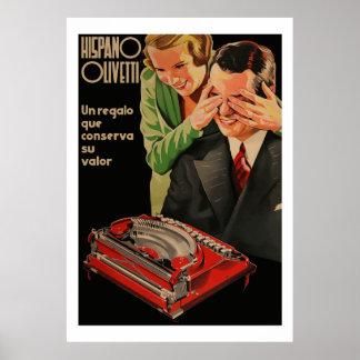 ヴィンテージのオリベッティの広告(元通りになる) ポスター