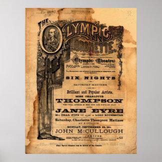 ヴィンテージのオリンピック劇場のフライヤ ポスター