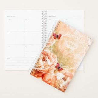 ヴィンテージのオレンジの花柄 プランナー手帳
