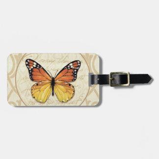 ヴィンテージのオレンジの蝶 ラゲッジタグ