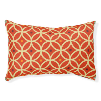 ヴィンテージのオレンジ黄色のクローバーの格子垣パターン